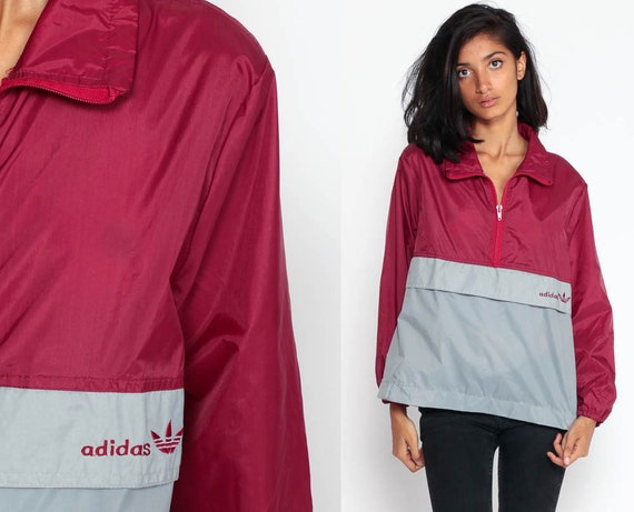Adidas Jacket 90s Windbreaker Jacket Shell Jacket Color Block Burgundy Sports Warm Up Hipster Vintage 1990s Sporty Small