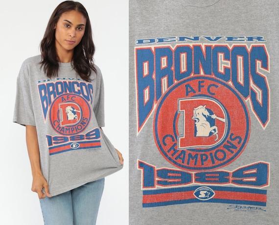 Denver Broncos Shirt 1989 Football Tshirt Long Sleeve White Shirt 80s NFL T Shirt Starter Colorado T Shirt Sports Vintage Medium Large