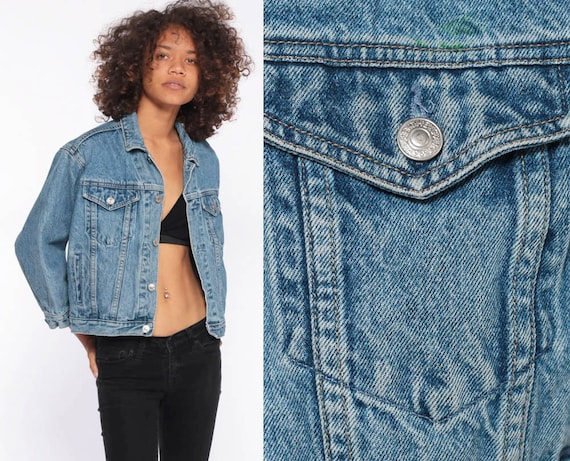 90s Cropped Jean Jacket -- GAP Denim Jacket Trucker Blue 1980s Vintage Biker 90s Cropped Denim Crop Streetwear Extra Extra Small XXS xs