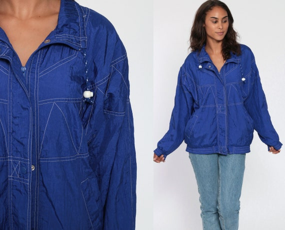 90s Windbreaker Jacket Retro Windbreaker Blue Embroidered Zig Zag Print Jacket Topstitch Vintage 1990s Sportswear Medium Large