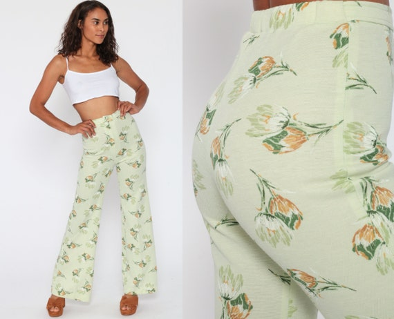 Bell Bottom Pants Floral Trousers 70s FLORAL PRINT High Waisted Pants Boho Green Hippie Flared Bohemian Seventies Festival Extra Small XS