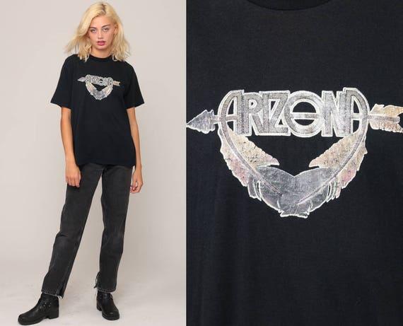 Arizona Shirt Retro TShirt Vintage Iron On T Shirt ARROW Shirt 80s Travel Graphic Paper Thin Tee 1980s Large