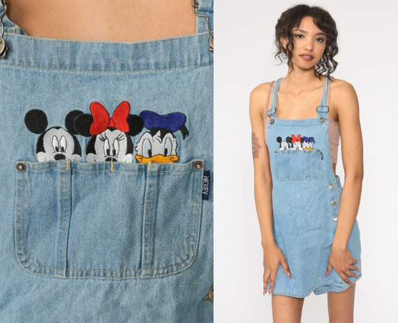 Disney Jean Dress MICKEY MOUSE Overall Dress Vinta