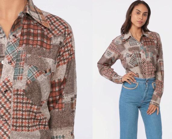 Patchwork Plaid Shirt 70s Pearl Snap Blouse Disco Top Plaid Western Shirt Disco 1970s Hippie Button Up Shirt Brown Collared Top Small Medium