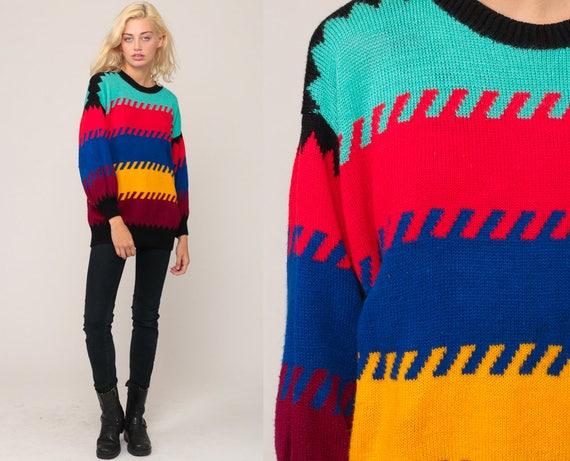 Color Block Sweater STRIPED Knit 80s Pullover Oversized Bright  eb922cbda