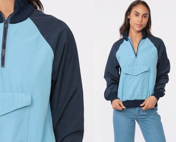 80s Jacket Half Zip Pullover Windbreaker Color Block Blue Baby Blue Raglan Sleeve Collared Jacket Vintage 1980s Retro Plain Extra Small xs