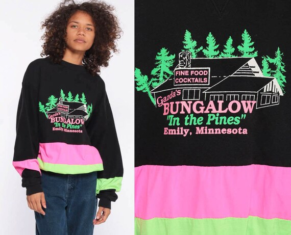 90s Neon Sweatshirt Gazda's Bungalow IN THE PINES Emily, Minnesota Black Color Block 80s Crewneck Slouchy Pullover Sweat Shirt Small Medium