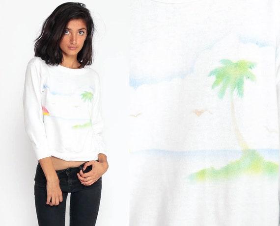 Palm Tree Shirt 80s Sweatshirt Retro BEACH SUNSET Shirt Tropical Shirt Slouchy Jumper Pullover 1980s Graphic Travel Vintage Extra small