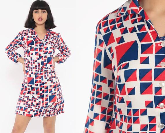 70s Shirtdress Red White Blue Dress Mod Button Up Dress Mini Geometric Print Shift Op Art Boho Long Sleeve Vintage Minidress Hippie Small