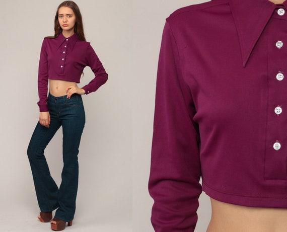 Purple Crop Top 70s Cropped Shirt Bohemian Retro Blouse Mod Top 1970s Hippie Long Sleeve Button Up Shirt Plain Extra Small xs