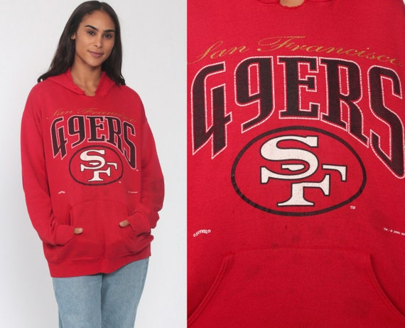 49ers Hooded Sweatshirt SAN FRANCISCO Shirt 80s Hoodie Sweatshirt Football Hood Pullover Sweater Vintage Red Sportswear Medium Large