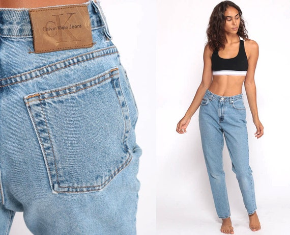 Calvin Klein Mom Jeans Blue Slim Relaxed Fit Jeans CK 90s Denim Pants Tapered Blue 1990s Vintage Hipster 90s Streetwear Small 6 27