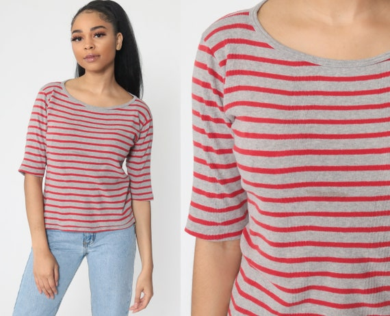 Striped T Shirt 90s T Shirt Red Grey 3/4 Sleeve Top Simple Ringer Tee Basic Retro Tee Vintage Normcore Tight Medium Large