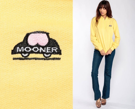 Yellow Sweatshirt MOONER Shirt Quarter Zip Sweatshirt 80s Pullover Sweater Retro Shirt 1980s Slouchy Vintage Small
