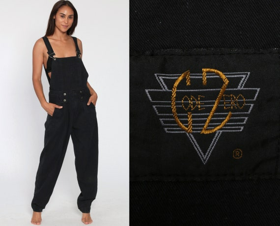 Black Overalls Women 90s CODE ZERO Baggy Bib Cotton Suspender Pants 00s Streetwear Long 1990s Cargo Vintage Dungarees Extra Small xs
