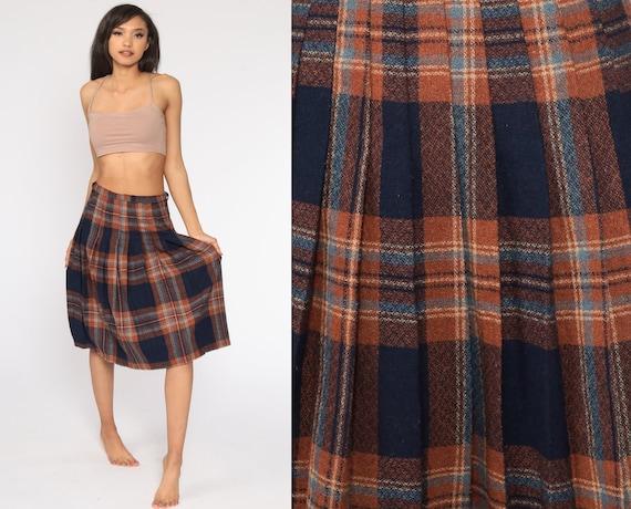 Plaid Midi Skirt School Girl Wool Blend Pleated Tartan High Waisted 70s Navy Blue Brown Preppy Checkered Retro Vintage 1970s Small S