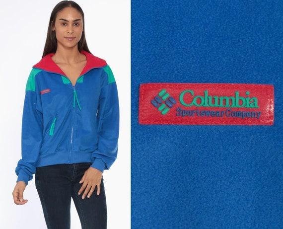 80s Columbia Track Jacket -- 1980s Zip Up Sweatshirt Blue Color Block Retro Jacket Warmup Jacket Sportswear 80s Streetwear Medium Large