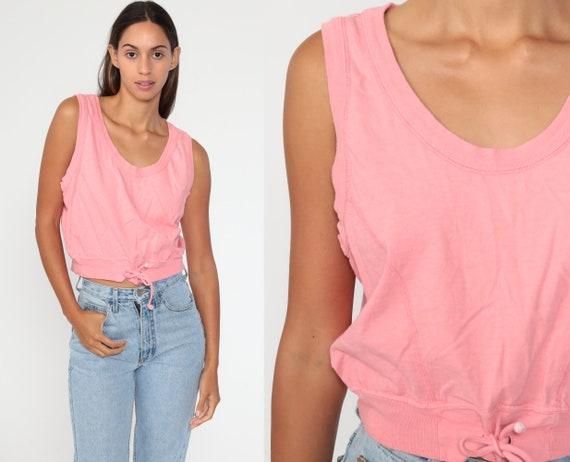 Pink Crop Top -- 90s Shirt Vintage Top Drawstring Waist Shirt Workout Tank Top Sleeveless Top Cotton Athleisure 1990s Sporty Small Medium