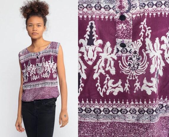 Batik Top Hippie Ethnic Shirt 90s Sleeveless Blouse Floral Dashiki 1990s Hippie Bohemian Indian Cotton Purple Vintage Boho Small