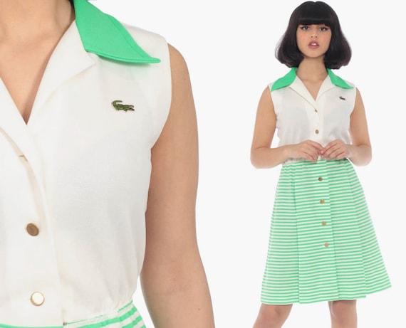 60s Lacoste Dress Striped Mod Mini Dress 60s Shift Crocodile Space Age 1960s Twiggy Green 70s Vintage Sleeveless Minidress Extra Small xs s