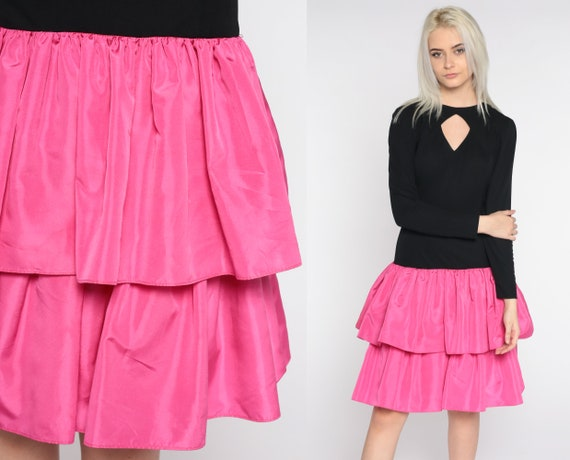 80s Party Dress Tiered Mini Dress Pink Black Backless Keyhole Dress Long Sleeve Prom Formal Drop Waist 1980s Vintage Small S