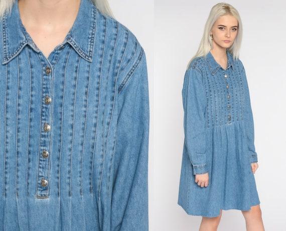 90s Denim Dress Mini Jean Grunge Vintage 1990s Button Up Dress Blue Long Sleeve Collar Shift Dress Large