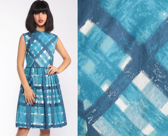 Blue Checkered 1960s Dress Plaid Dress 60s Day Dress Checkered Midi 50s Vintage Mad Men Sleeveless Rockabilly Small