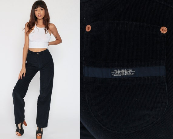 Levis Corduroy Pants Bootcut Pants 80s Pants Levi Strauss Jeans Navy Blue Trousers Straight Leg Trouser 1980s Vintage Boho Small 28