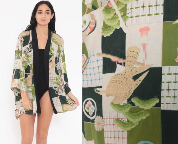Bird Kimono Robe 70s Bohemian Wrap Japanese Robe Dressing Gown Hand Printed Rayon Asian Vintage Boho Hippie Small Medium Large xs