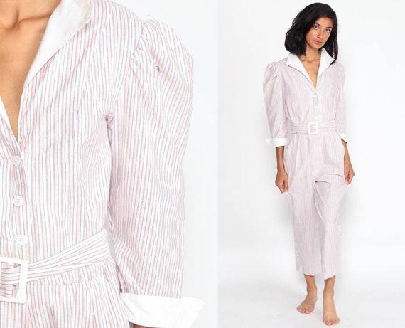 80s Jumpsuit Puff Sleeve Jumpsuit Pink Striped Jumpsuit Cotton Button Up Onesie Pantsuit Vintage Romper Pants Extra Small xs
