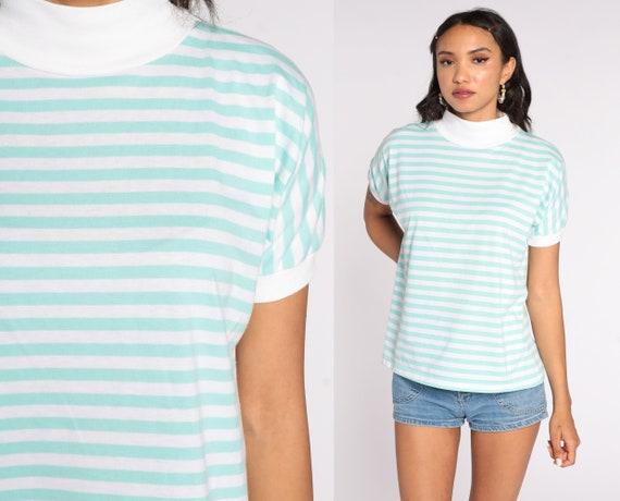 80s Striped Shirt Mint Striped Shirt 80s T Shirt Mock Neck Top Pastel Green High Neck Retro Vintage Short Sleeve 1980s White Medium
