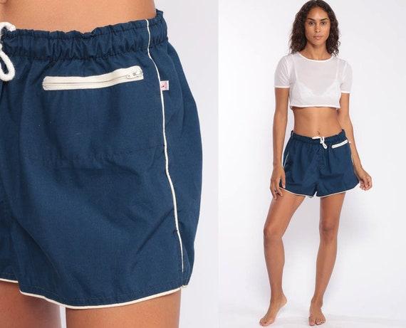 80s Swim Trunks -- 80s Bathing Suit Shorts Swim Shorts Jogging Shorts Blue Striped 1980s Swimsuit Drawstring Shorts Navy Blue Small Medium