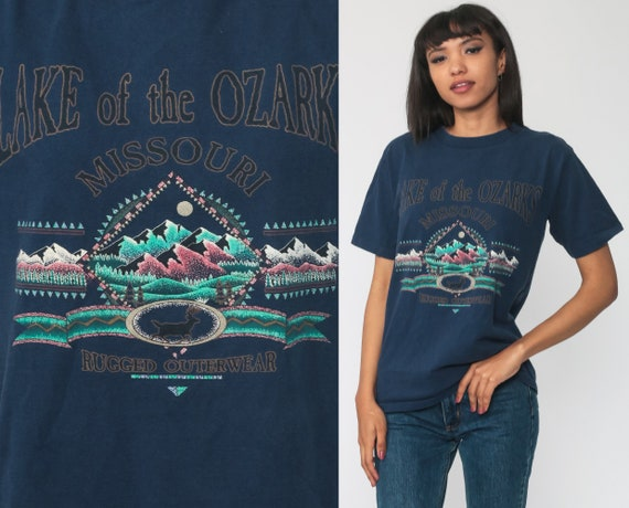 Ozarks Shirt Graphic Tee Lake Of The Ozarks 90s Retro Tshirt Deer Mountain Shirt Travel Vintage Retro T Shirt 1990s Extra Small xs s