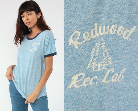 Redwood Forest Shirt Ringer Tee Shirt Tree Rec Lab Shirt 80s Tshirt California Shirt Graphic Tee Retro Vintage T Shirt 1980s Extra Small xs