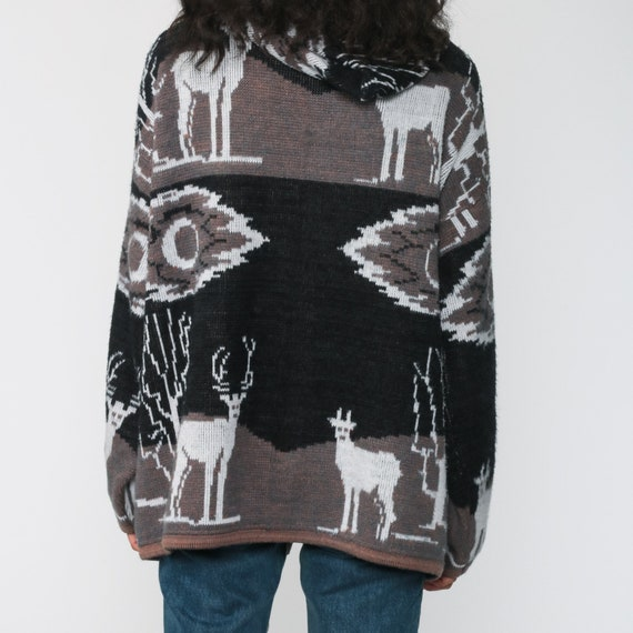 Animal Hoodie Sweater 90s Deer Button Up Cardigan… - image 7