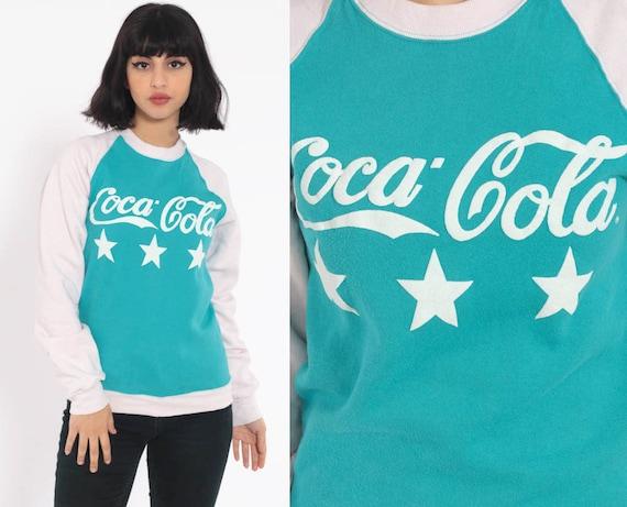 Coca Cola Sweatshirt 80s Coke Shirt Sweatshirt Vintage Raglan Sleeve Turquoise Blue Graphic Print Extra Small xs