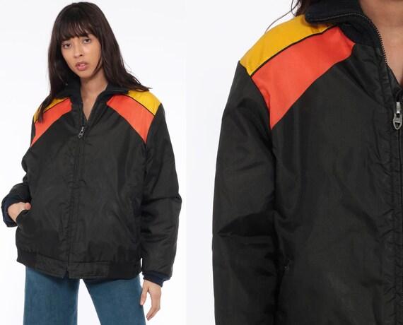 70s Ski Jacket Men's Large Black Puffer Jacket Yellow Stripe Retro 80s Striped Puffy Coat Coat Winter 1980s Vintage Extra Large xl