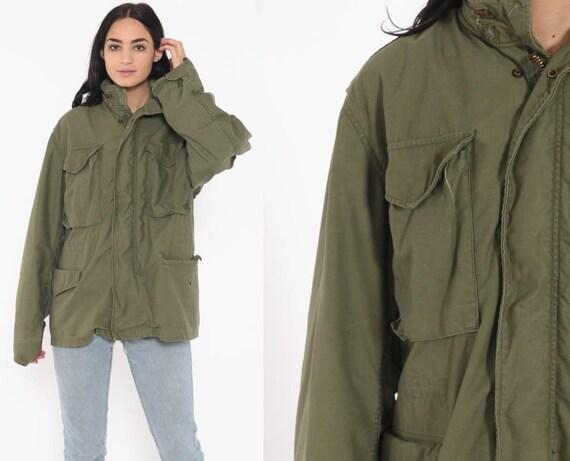 Commando Jacket Military Jacket 80s Coat Army Field HOODED Cargo Utility Grunge Oversized Olive Drab Green Anorak Medium Large