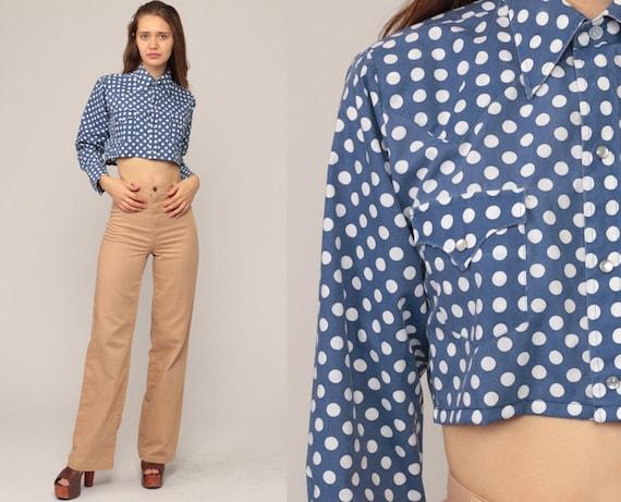 Blue Polka Dot Shirt Cropped Blouse 70s Disco Top Bohemian Shirt PEARL SNAP Shirt 1970s Hippie Long Sleeve Button Up Boho Small