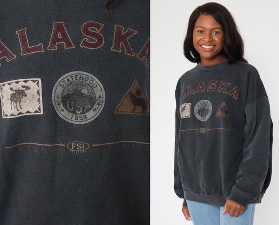 Alaska Sweatshirt 90s Sweatshirt Charcoal Grey Sweatshirt Wolf Slouchy 1990s Retro Top Vintage Extra Large xl l