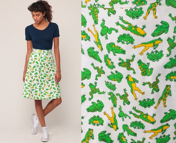 70s Mini Skirt FROG PRINT Wrap High Waisted Skirt Boho Mod 1970s Hippie A Line Bohemian Animal White Green Retro Vintage Extra Small xs