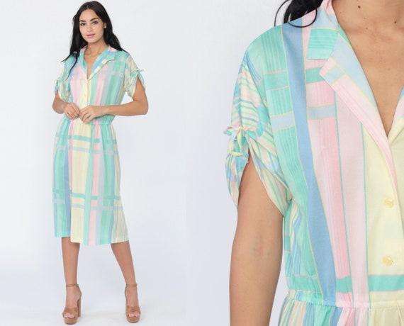 Pastel Shirt Dress 70s Button Up Midi Striped Secretary Shirtdress High Waist 80s Vintage Ruched Short Sleeve Pink Blue Green Medium 10