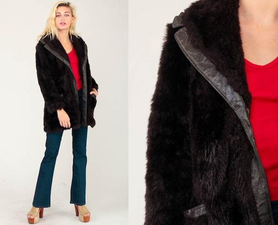Fake Fur Coat 70s FAUX FUR Jacket Leather Hippie Jacket Boho Dark Brown 1970s Hipster Bohemian Seventies Glam Disco Women Medium