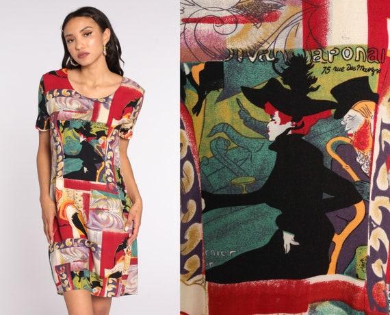 French Art Dress Le Divan Japonais Poster Henri de Toulouse-Lautrec 90s Mini Shift Hippie Boho Red Vintage 1990s Short Sleeve Medium