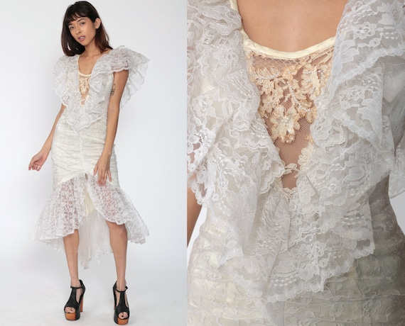 80s Lace Dress Beaded MERMAID HEM Dress Midi 80s Party Dress Sequin Cocktail Boho Prom Hippie Bohemian 1980s Vintage Climax Small 4