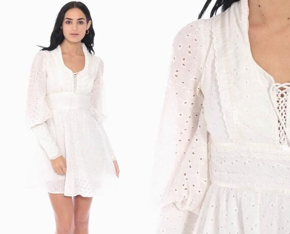 Gunne Sax Dress Eyelet Lace Mini Dress 70s Babydoll Off White Boho Sheer Sleeve Party 1970s Bohemian Vintage Hippie Extra Small xs