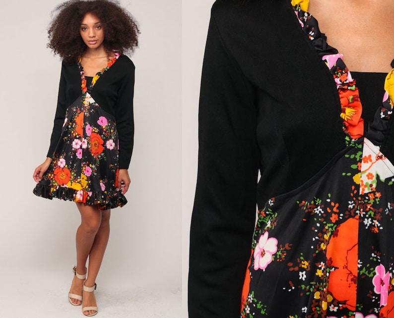 caa35a1dfc Floral Mini Dress 70s Babydoll Dress Hippie Bohemian 1970s