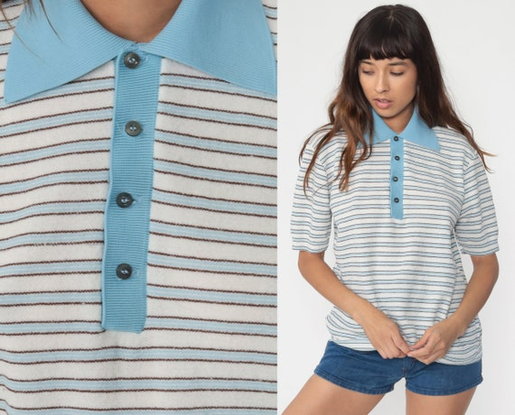 Striped Polo Shirt 70s Shirt Half Button Up Shirt Baby Blue Polo Shirt Collared 1970s Stripes Nerd Retro Vintage Medium Large