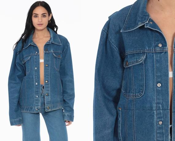 Denim Jacket Jean Jacket Key Imperial Blue Oversize 70s 80s Vintage Dark Wash Biker Oversized Button Up Hipster Medium Large