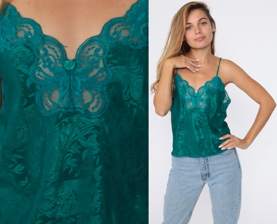 90s Cami Top Green Lace Camisole Lingerie Tank Top Embossed Paisley Romantic Sleep Shirt Vintage 1990s Bohemian Small